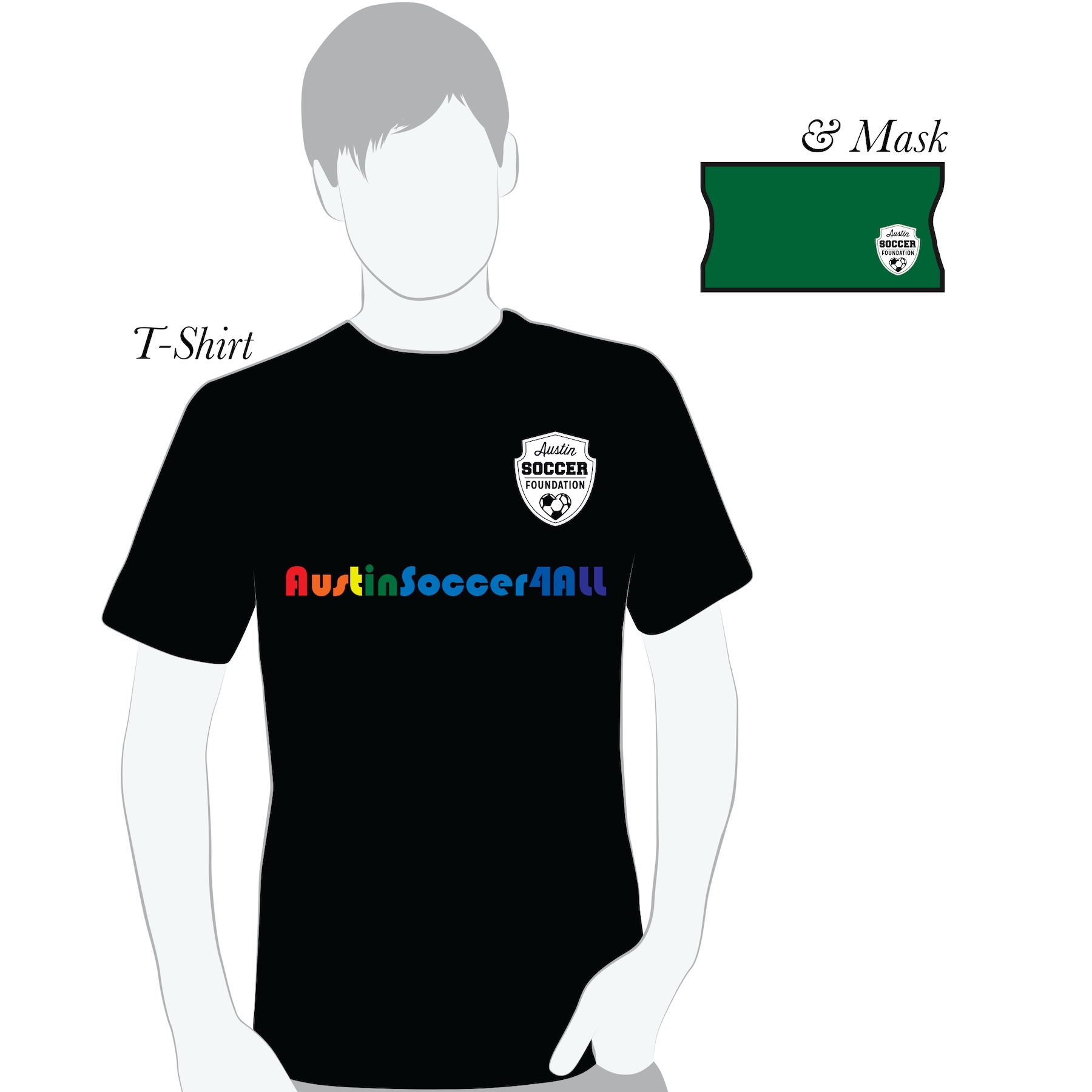 AustinSoccer4All t-shirt and mask