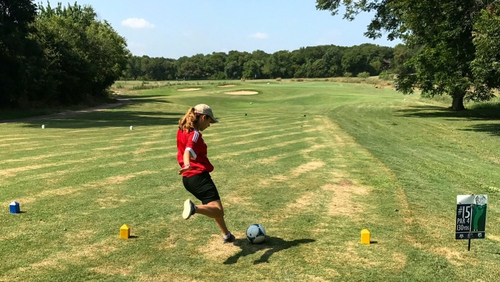 Footgolfer tees off